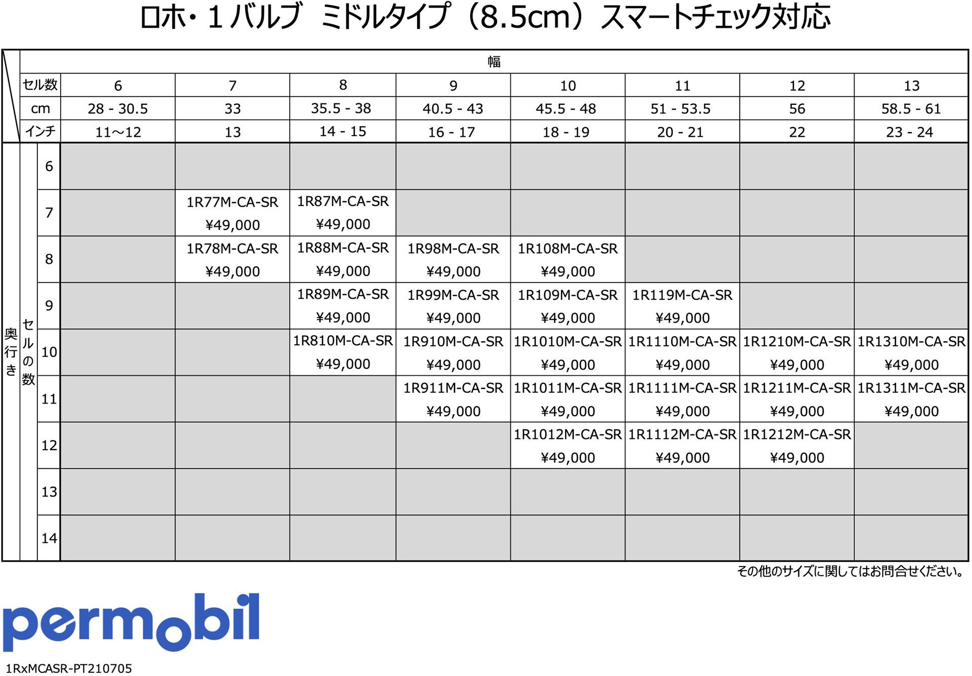 価格早見表 - ロホ・1バルブ-ミドルタイプ(8.5cm)スマートチェック対応
